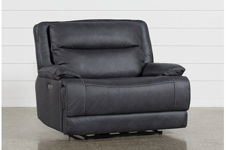 Garland Charcoal Cuddler Power Recliner With Power Headrest - Main