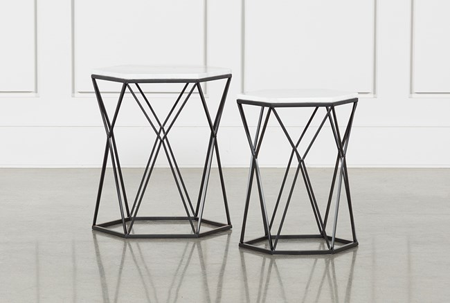 Olivia 2 Piece Set Bunching Accent Tables - 360