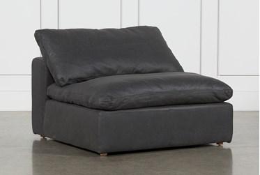 Hidden Cove Grey Leather Armless Chair