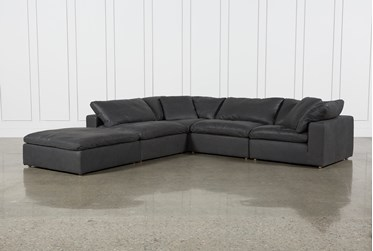 """Hidden Cove Grey Leather 5 Piece 134"""" Sectional With Ottoman"""