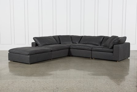 Hidden Cove Grey Leather 5 Piece Sectional With Ottoman