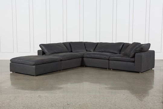 "Hidden Cove Grey Leather 5 Piece 134"" Sectional With Ottoman"