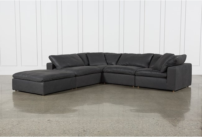 Hidden Cove Grey Leather 5 Piece Sectional With Ottoman - 360