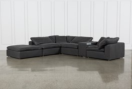 Hidden Cove Grey Leather 6 Piece Sectional W/Console & Ottoman