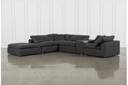 Hidden Cove Grey Leather 6 Piece Sectional With Console & Ottoman