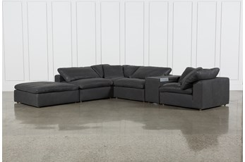 "Hidden Cove Grey Leather 6 Piece Sectional With 152"" Console & Ottoman"