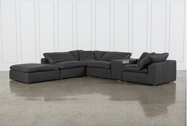 """Hidden Cove Grey Leather 6 Piece Sectional With 152"""" Console & Ottoman"""