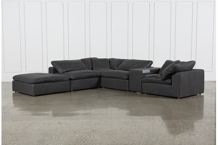 Hidden Cove Grey Leather 6 Piece Sectional WithConsole & Ottoman