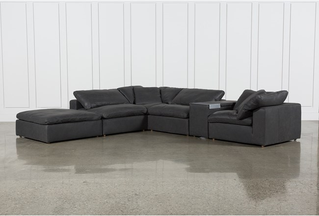 "Hidden Cove Grey Leather 6 Piece Sectional With 152"" Console & Ottoman - 360"