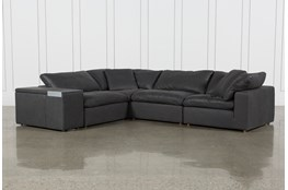 "Hidden Cove Grey Leather 5 Piece Sectional With 134"" Console"