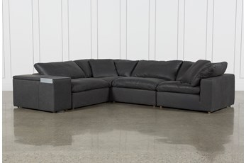 Hidden Cove Grey Leather 5 Piece Sectional With Console