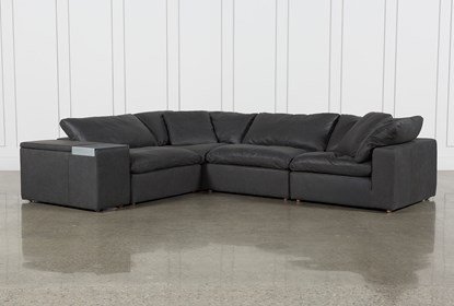 Peachy Hidden Cove Grey Leather 5 Piece Sectional With Console Caraccident5 Cool Chair Designs And Ideas Caraccident5Info