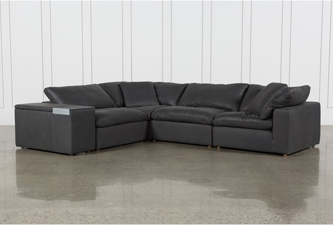 Hidden Cove Grey Leather 5 Piece Sectional With Console - 360