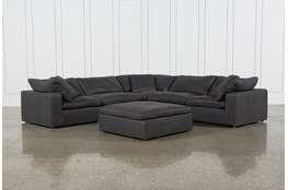 "Hidden Cove Grey Leather 6 Piece 134"" Sectional With 3 Corners"
