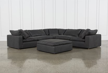 Awesome Hidden Cove Grey Leather 6 Piece Sectional With 3 Corners Evergreenethics Interior Chair Design Evergreenethicsorg