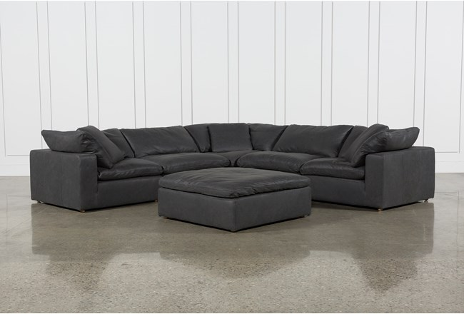 Hidden Cove Grey Leather 6 Piece Sectional With 3 Corners - 360