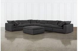 "Hidden Cove Grey Leather 7 Piece 178"" Sectional With Ottoman"