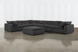 """Hidden Cove Grey Leather 7 Piece 178"""" Sectional With Ottoman"""