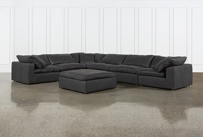 Remarkable Hidden Cove Grey Leather 7 Piece Sectional With Ottoman Bralicious Painted Fabric Chair Ideas Braliciousco