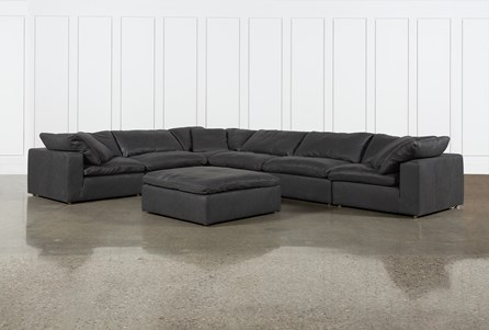 Hidden Cove Grey Leather 7 Piece Sectional With Ottoman