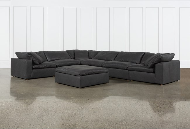 Hidden Cove Grey Leather 7 Piece Sectional With Ottoman - 360