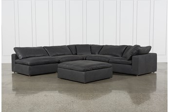 "Hidden Cove Grey Leather 6 Piece 134"" Sectional With 3 Armless Chairs"