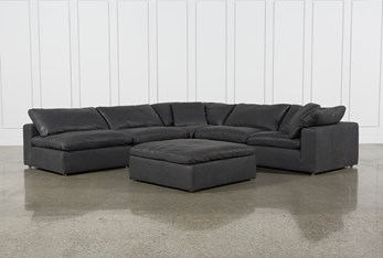 """Hidden Cove Grey Leather 6 Piece 134"""" Sectional With 3 Armless Chairs"""