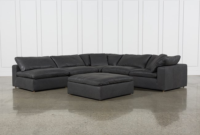 Hidden Cove Grey Leather 6 Piece Sectional With 3 Armless Chairs - 360