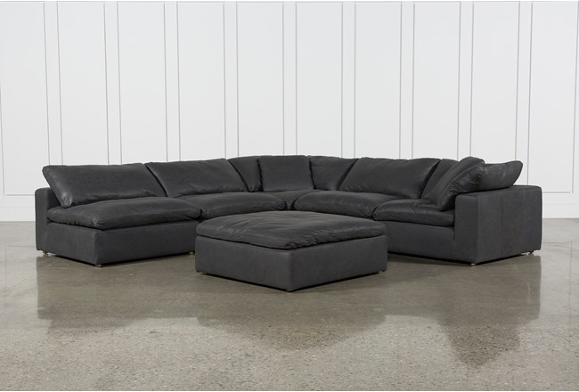 """Hidden Cove Grey Leather 6 Piece 134"""" Sectional With 3 Armless Chairs - 360"""