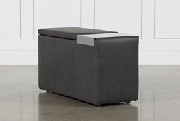 Hidden Cove Grey Leather Console With Metal Table