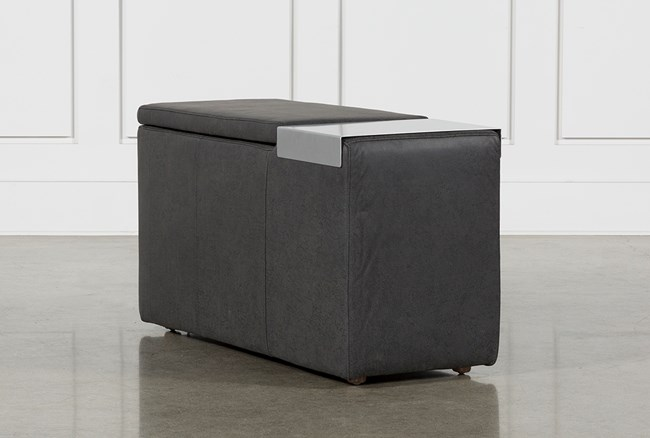 Hidden Cove Grey Leather Console With Metal Table - 360