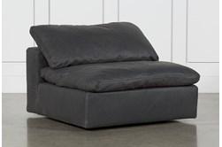 Hidden Cove Grey Leather Swivel Armless Chair