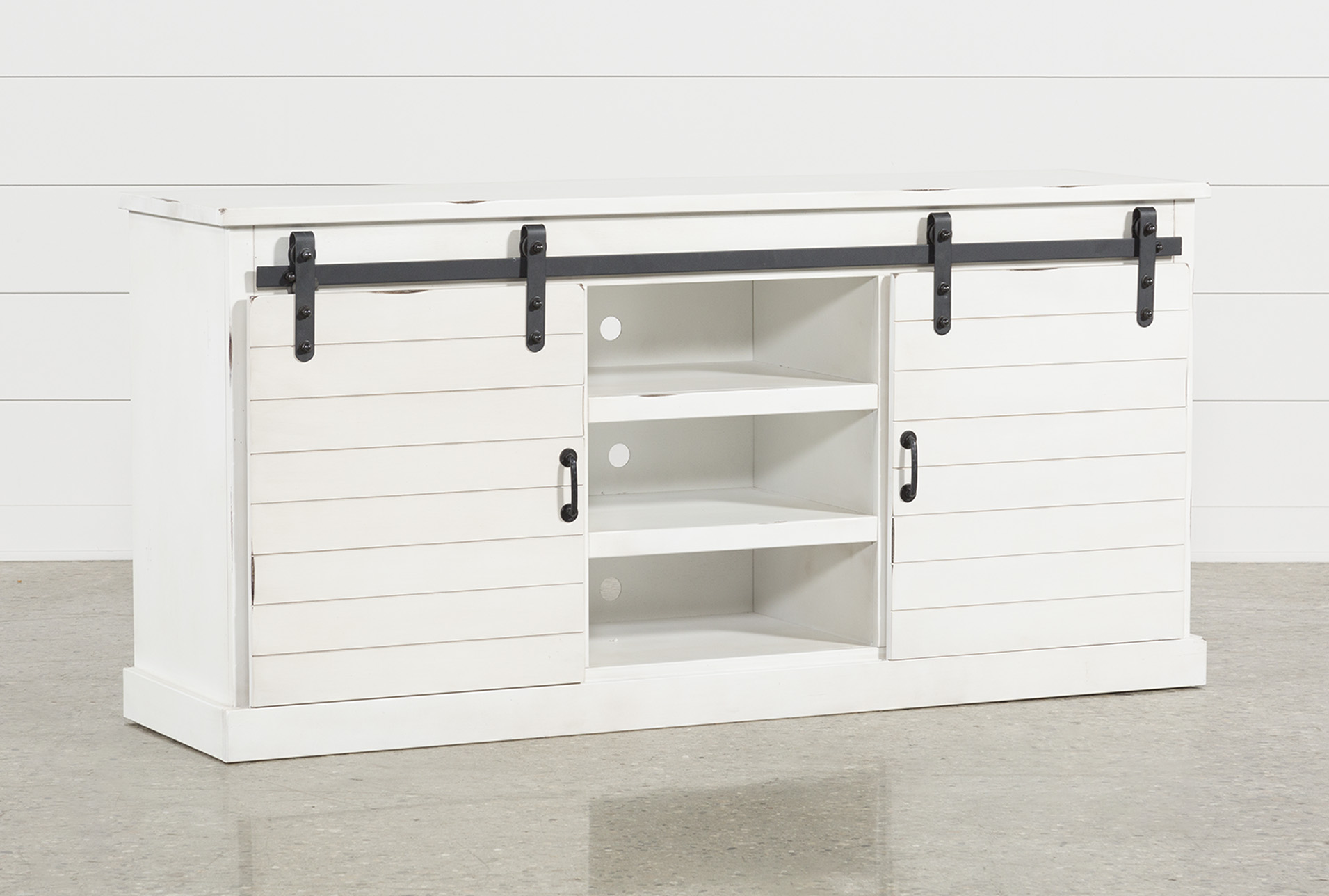 Superieur Noah Rustic White 66 Inch TV Stand   360