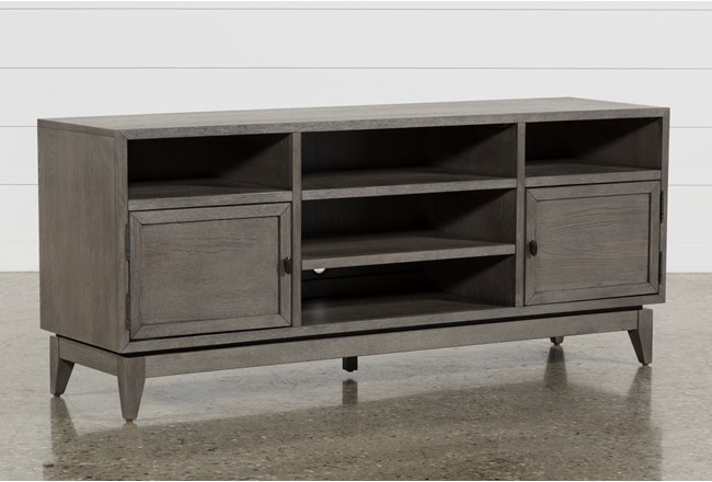 casey grey 66 inch tv stand living spaces. Black Bedroom Furniture Sets. Home Design Ideas