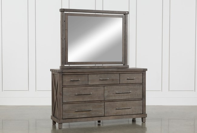 Jaxon Grey Dresser Mirror Living Spaces