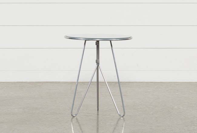 Silver Mirrored Accent Table - 360