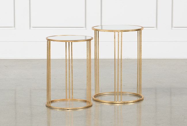 2 Piece Set Magri Gold Nesting Accent Tables - 360