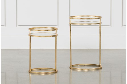2 Piece Set Gold Nesting Accent Tables