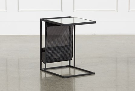 Black Magazine Rack Accent Table