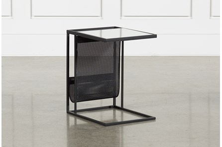 Black Magazine Rack Accent Table - Main