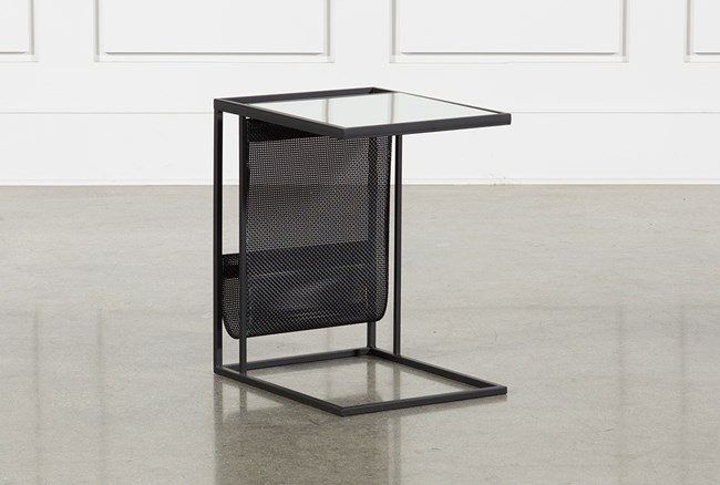 Black Magazine Rack Accent Table - 360