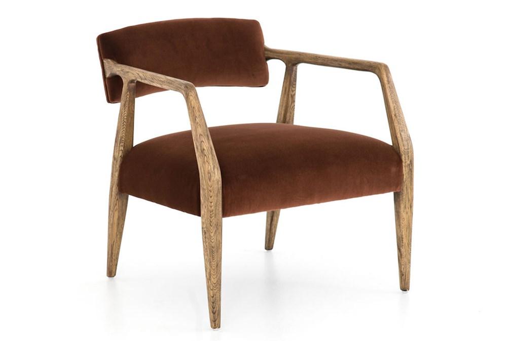 Burnt Auburn Velvet Oak Arm Chair