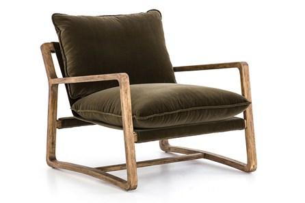 Velvet Olive Green Oak Chair