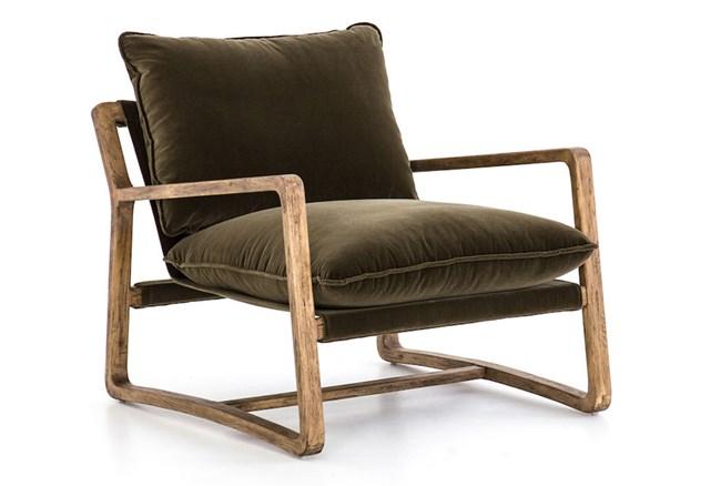 Velvet Olive Green Oak Chair - 360