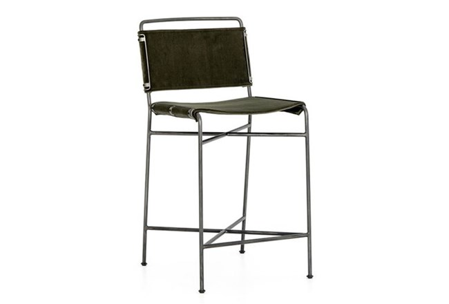 Dark Olive Velvet Iron Counter Stool - 360
