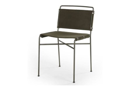 Dark Olive Velvet Iron Dining Chair