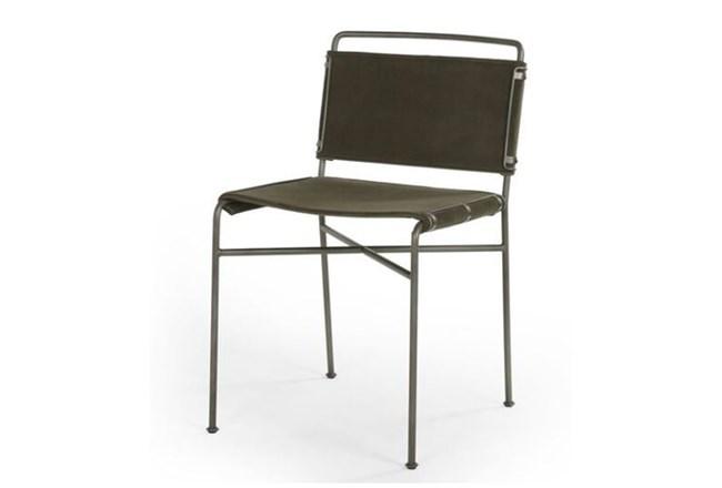 Dark Olive Velvet Iron Dining Chair - 360