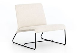 Armless Ivory Boucle Chair
