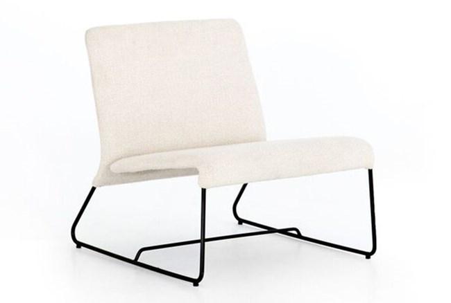 Armless Ivory Boucle Chair - 360