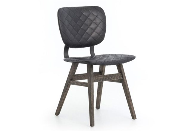Quilted Black Dining Chair - 360